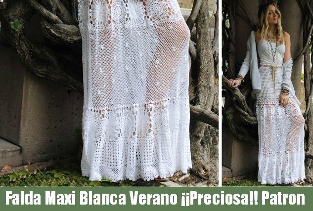 Falda Maxi verano Crochet blanca Patron - Patrones Crochet ...