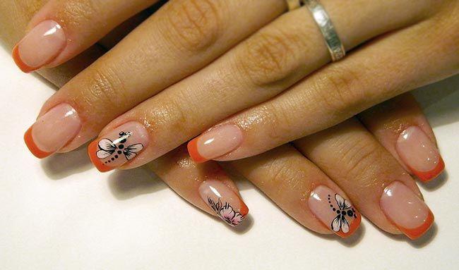 яркий френч с рисунком на ногтях фото