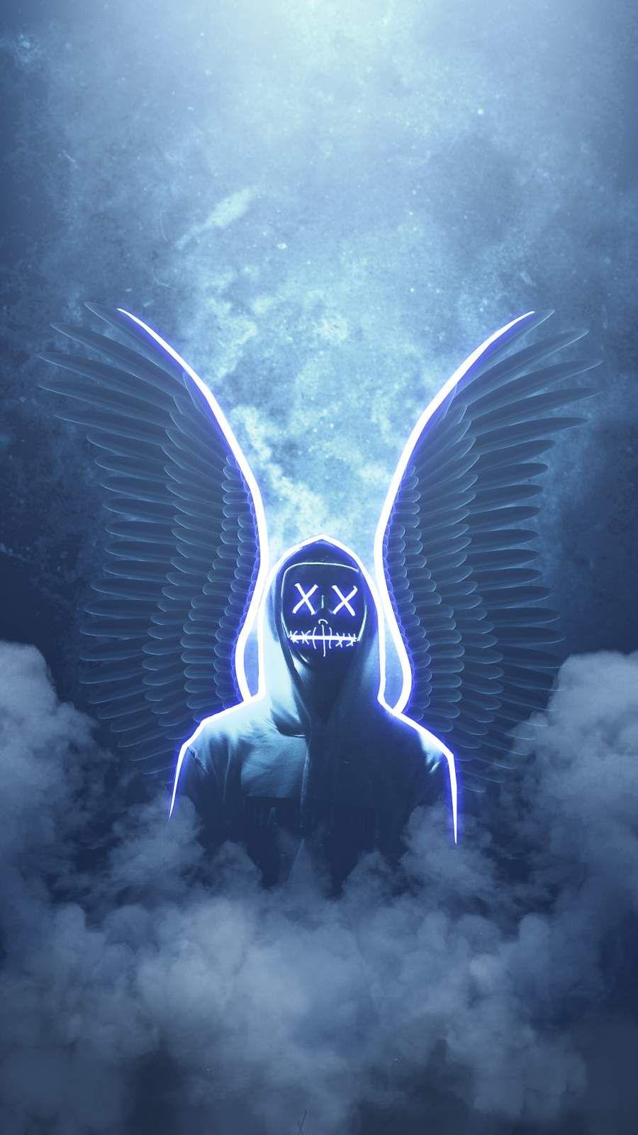 Neon Angel iPhone Wallpaper, 2020