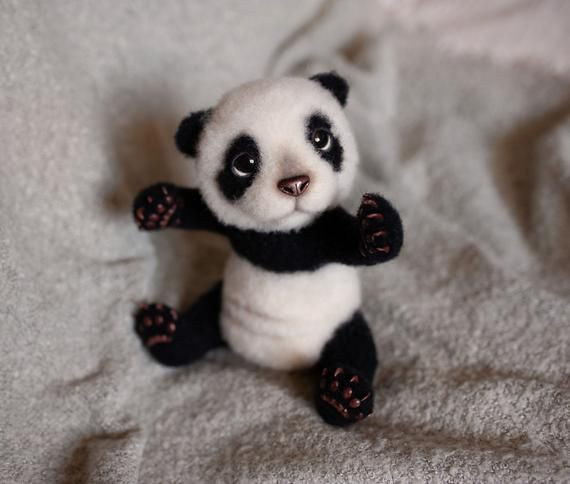 Felted panda bear Cute animal lover gift OOAK #babypandabears