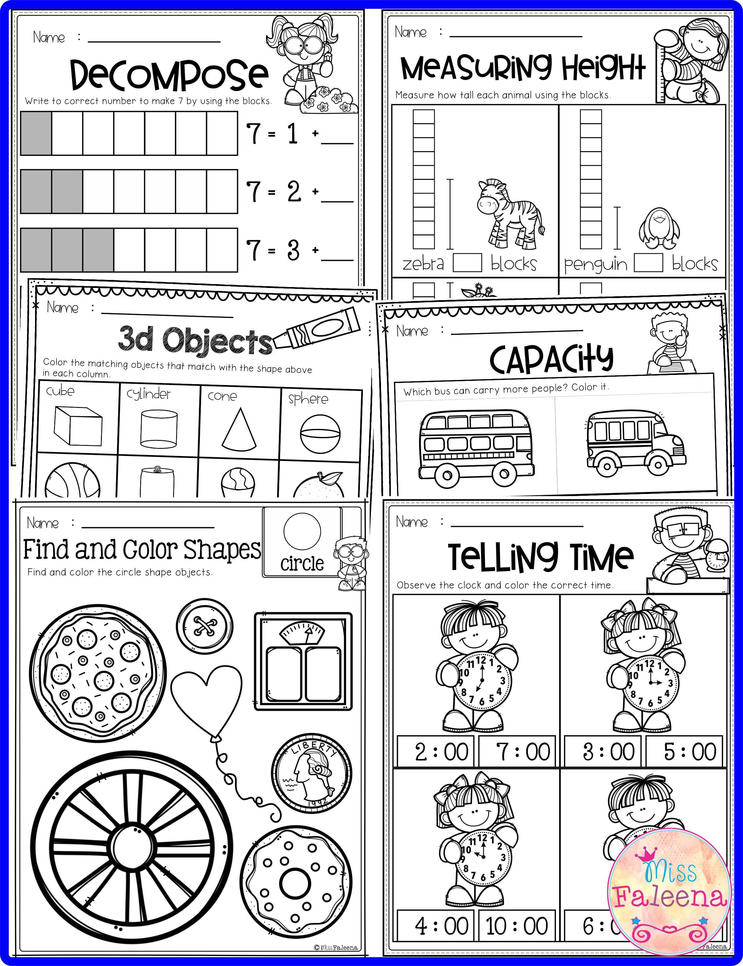 Kindergarten Math Has 120 Pages Of Math Practice Worksheets These Pages Are Great For Kindergarten And First Grade Students Kindergarten Kindergarten Math W [ 3254 x 2502 Pixel ]