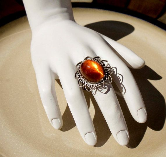 Vintage Pewter ring Amber stone by PaganCellarJewelry on Etsy, $9.99