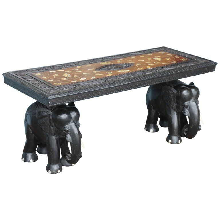Angloindian elephant motif cocktail table from a unique