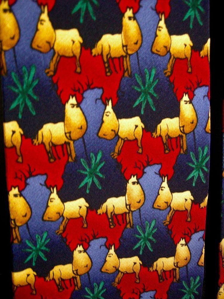 Reindeer J. Garcia Vintage Christmas 1996 Silk Necktie Tie Red Blue Green Palm #JGarcia #Tie