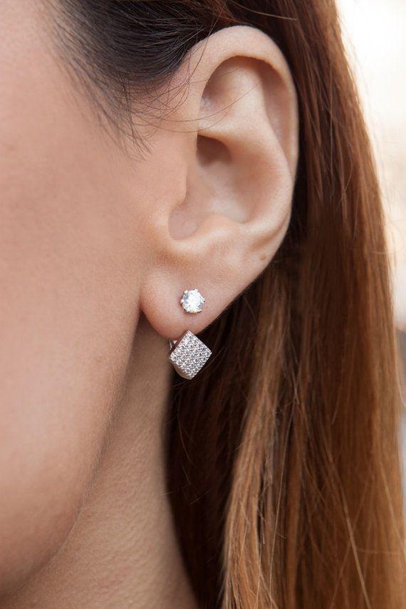 two way leaf earring silver ear jacket ear jacket ear jacket earrings double sided earring front back earrings two way earring