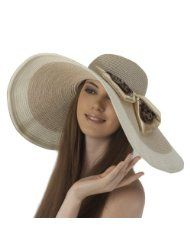 Luxury Lane Women s Light Brown Floppy Sun Hat with Leopard Print Bow 38  brim 01097119fbad