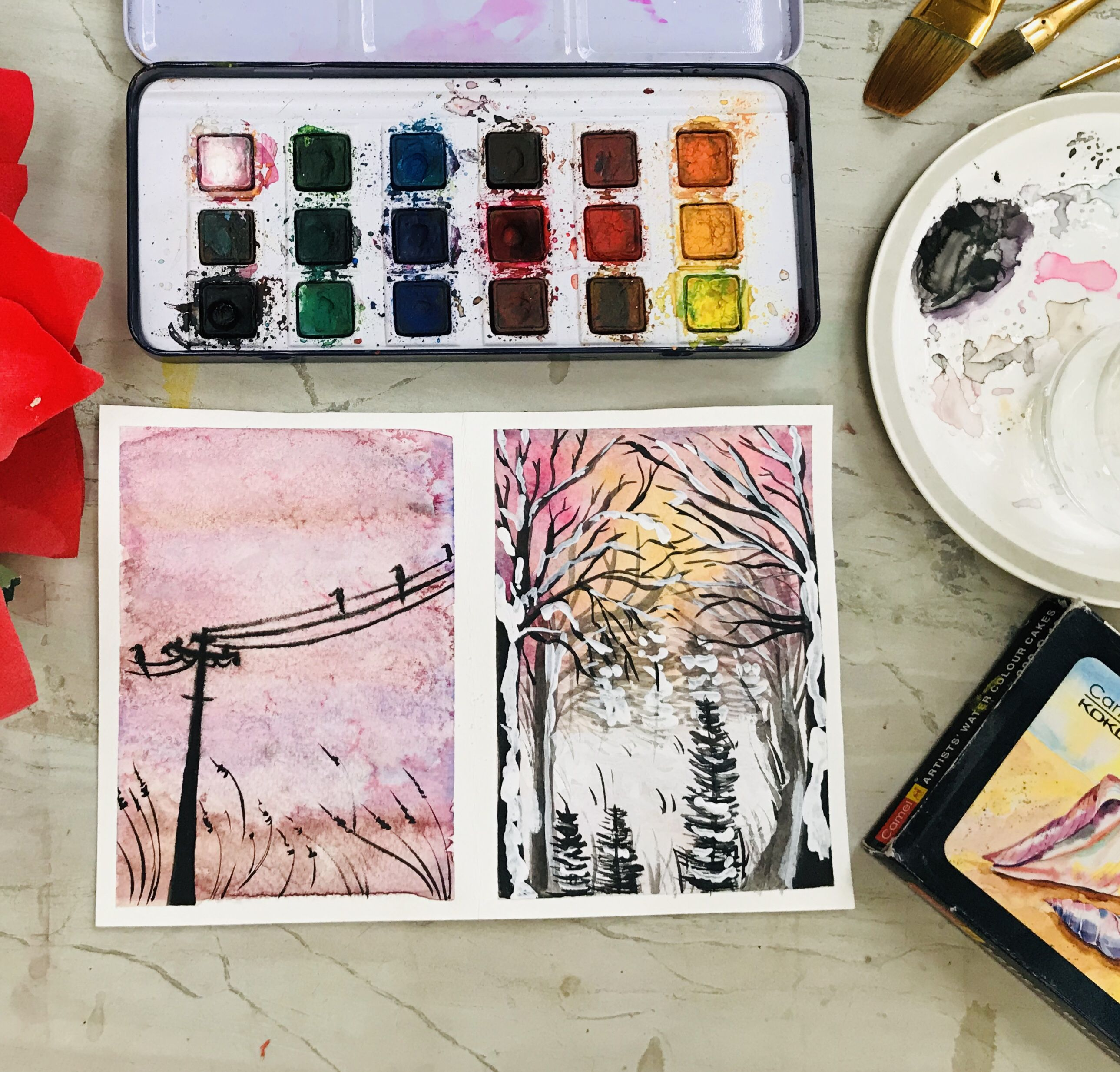 2 Easy Watercolor Landscapes Using Wet In Wet Technique Easy