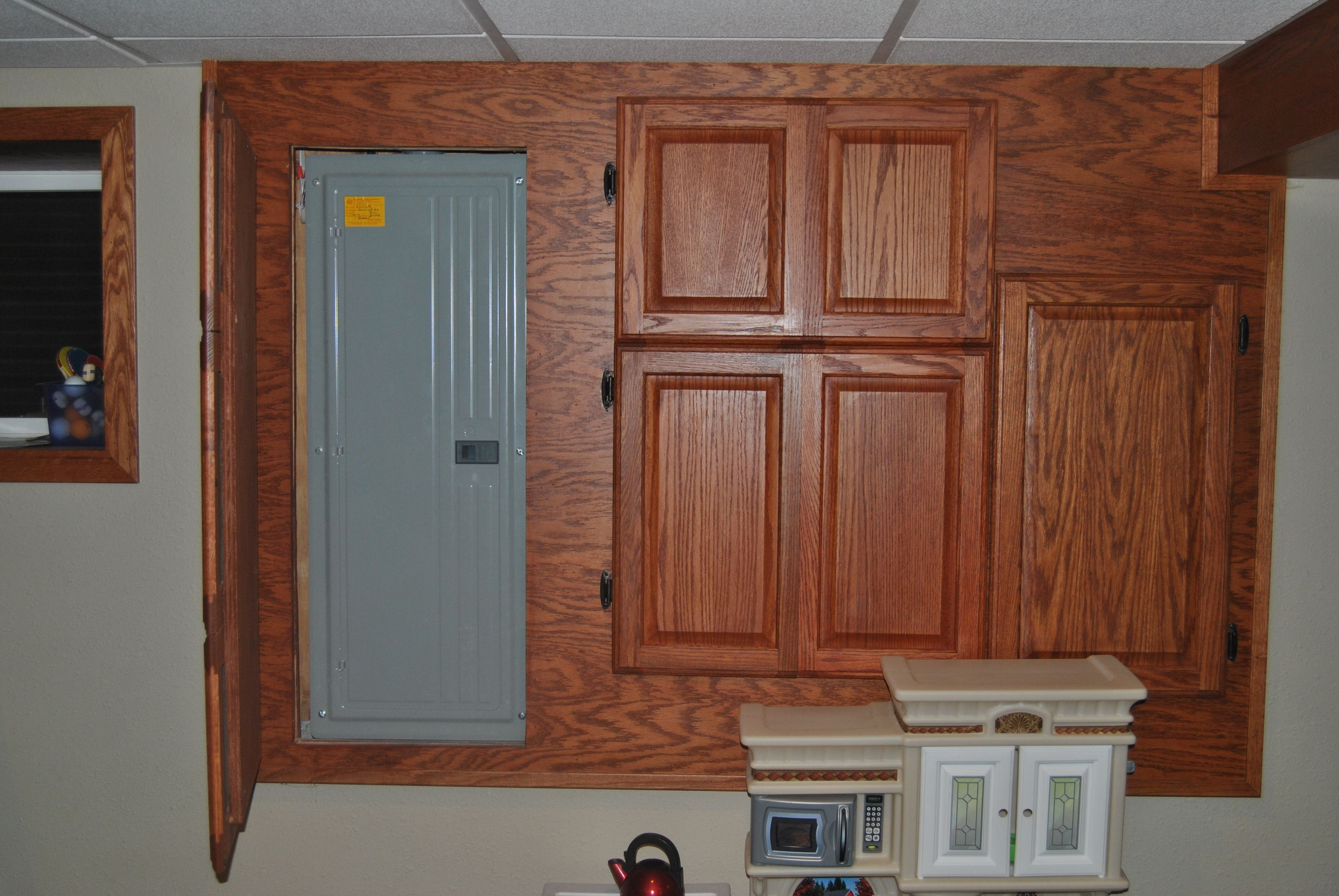 great way to cover up fuse boxes in your basement Laundry Room, Basement,  Garage
