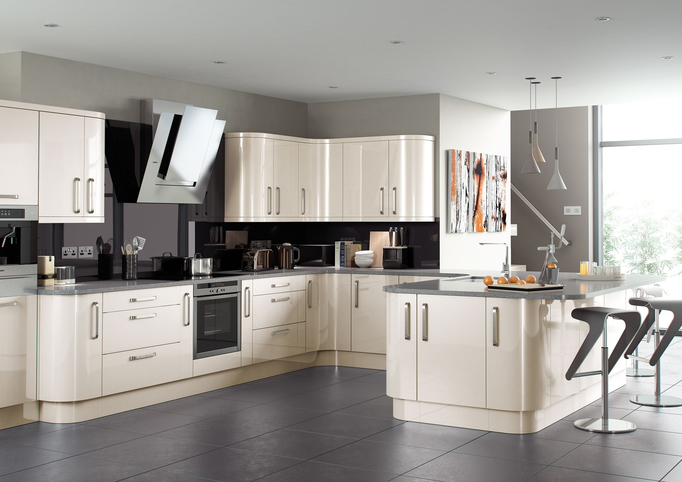 Complete High Gloss Kitchen Units New Colours Oakwhiteblack - Shiny grey kitchen units