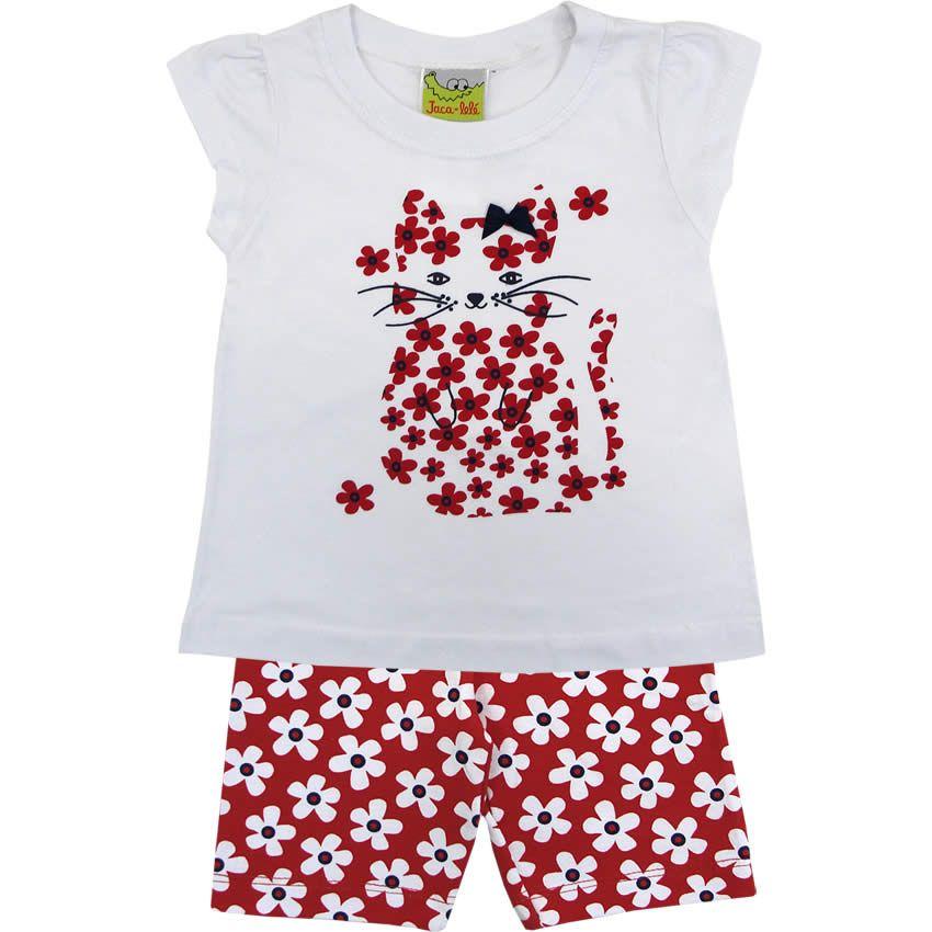 Conjunto Infantil Floral para Menina Vermelho - Jaca-Lelé    764 Kids  69ee9a2bf6b1b