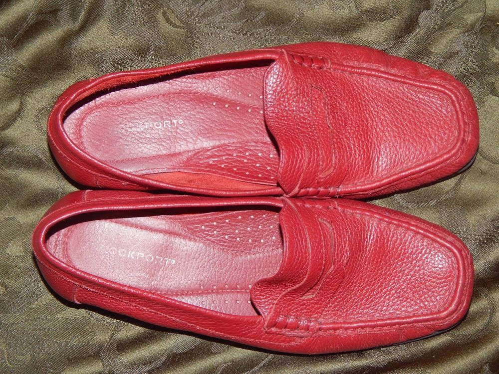 1a130f92153 ROCKPORT RED PEBBLE LEATHER PENNY LOAFERS - LADIES SIZE 9W - PREOWNED EXC.  COND  fashion  clothing  shoes  accessories  womensshoes  flats (ebay link)