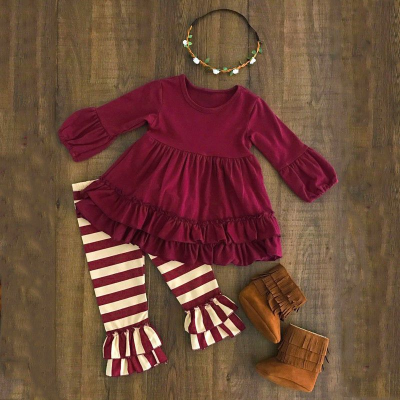 best exclusive range usa cheap sale 2-7T Kids Toddler Girls Ruffle Tops Blouse Dress + Pants Trousers ...