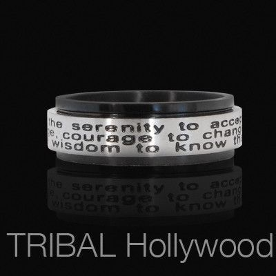Serenity Prayer Mens Spinner Ring With Stainless Steel With Black Pvd Serenity Prayer Unique Mens Rings Cool Rings For Men