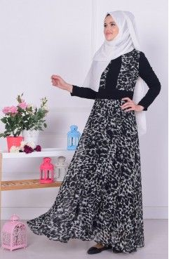 Lepoar Desenli Sifon Elbise 3001 02 Siyah Elbise Sifon Elbise Elbise Modelleri