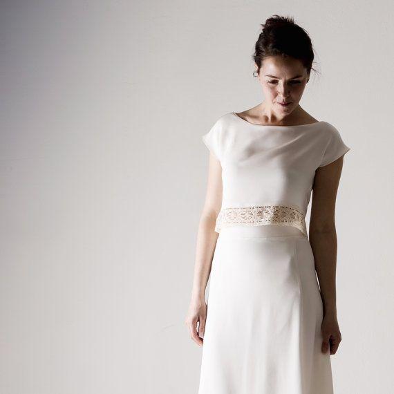 Wedding top, Wedding separates, Silk Crop top, White top, Simple ...