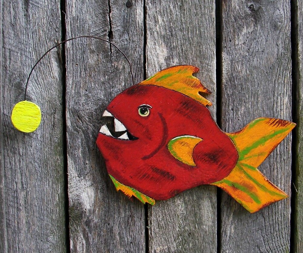 Angler Fish Primitive Folk Art Wood Cutout Nautical Funky Sculpture ...