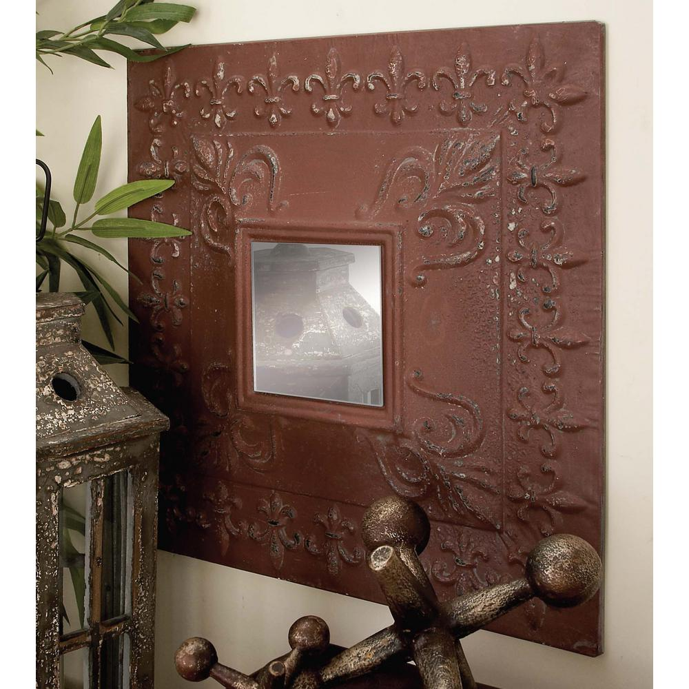 Litton Lane Rustic Elegance Fleur de Lis Wall Mirror Set