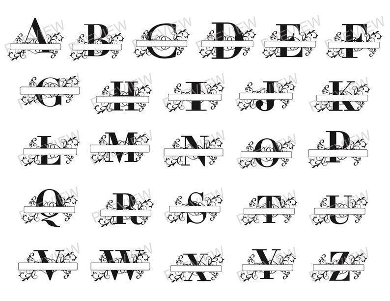 Split Monogram Whole Alphabet Svg Letter Regal Split Etsy Lettering Monogram Letters Monogram Svg