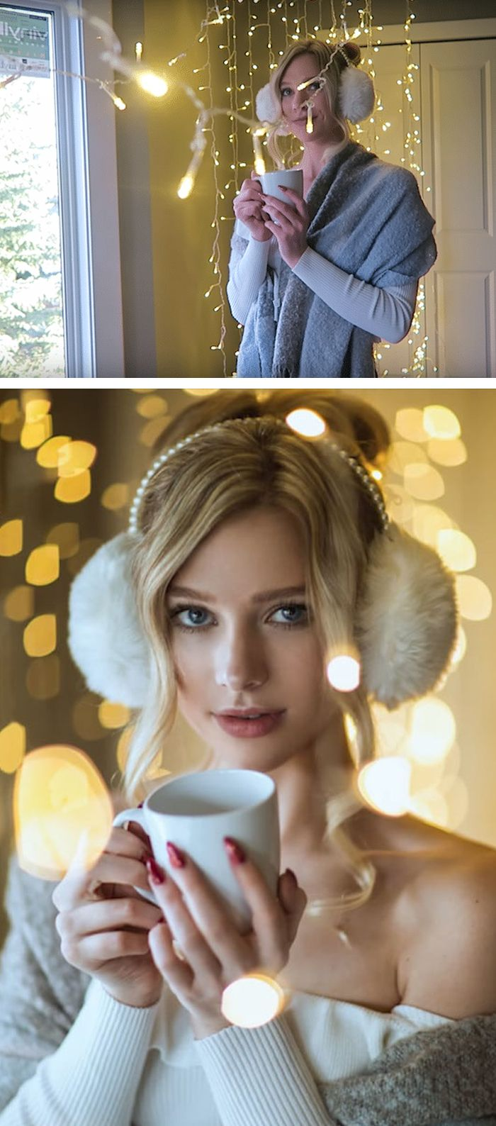 Photographer Irene Rudnyk used a simple strand of Christmas lights to create a wintery lighting effect in her portrait shoot.