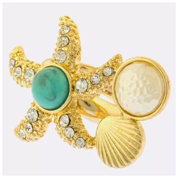 """Starfish Seashell Gold Faux Pearl Expandable Ring ‼️PRICE FIRM‼️   Beach Theme Ring  Fabulous fashion ring.  Textured faux pearl.  Gold color metal adorned with crystals.  stretches to fit your finger.  Approximately 1.5"""" wide by 1"""" tall. Boutique Jewelry Rings"""
