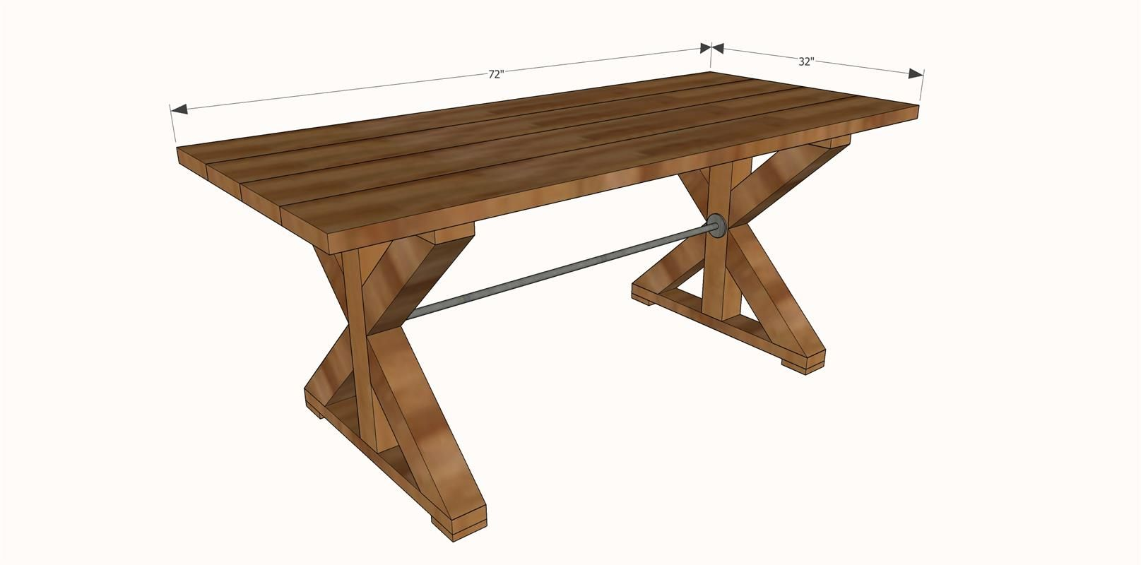 Farmhouse x table i wouldn 39 t have a pipe in the middle for 4x4 dining table