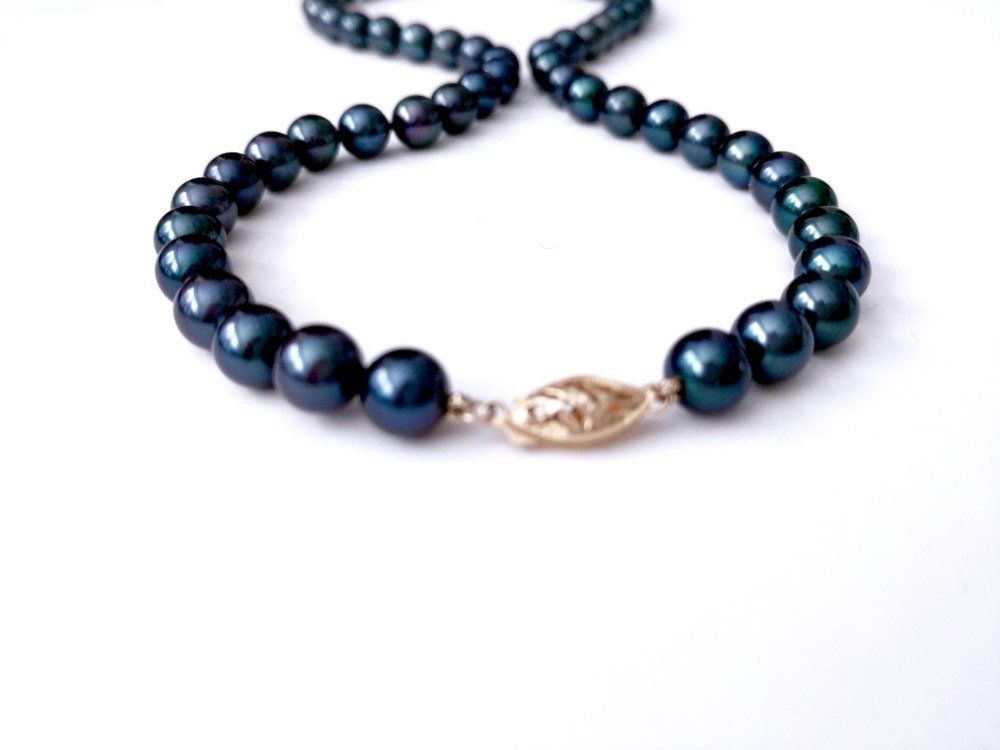 Saltwater Black Akoya Real Pearl Bracelet 14K Gold Clasp Birthday Jewelry Hand Knotted Bridal Jewelry 6.5-7 mm SALE Various hues.