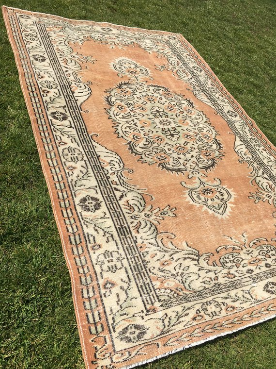 6 1 X9 6 Feet Distressed Oushak Rug Turkish Rug Vintage Rug Low Pile Orange Color Rug Interior Designer Kitchen Rug Handmade Rug Pastel Rug