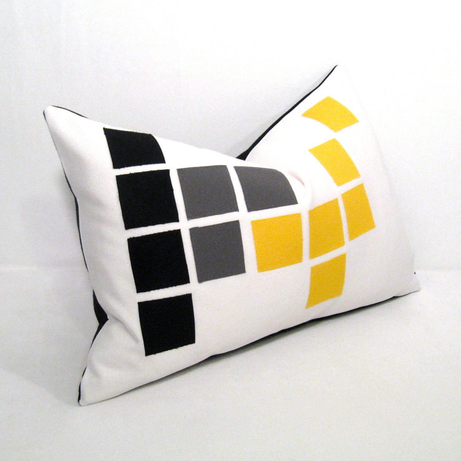 Black White Pillow Cover  Yellow Grey Outdoor  Decorative  Modern  Geometric  Pixel  Gray  Sunflower  Sunbrella Cushion 12 X 18 Inch
