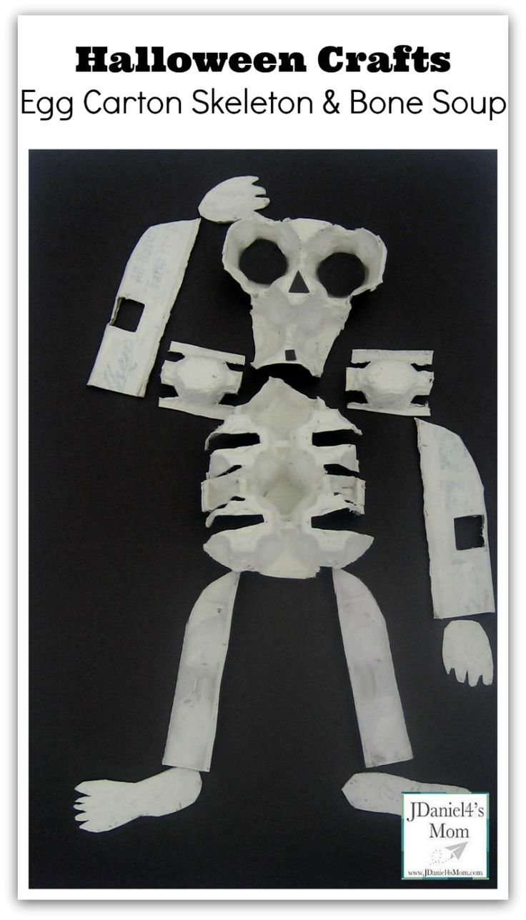 Halloween Crafts - Egg Carton Skeleton and Bone Soup : This craft can be done with just one egg carton.