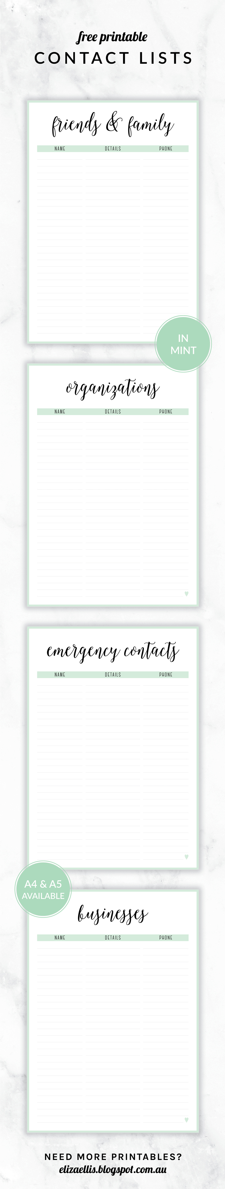 Free Printable Irma Contact Lists Eliza Ellis Including – Printable Contact List