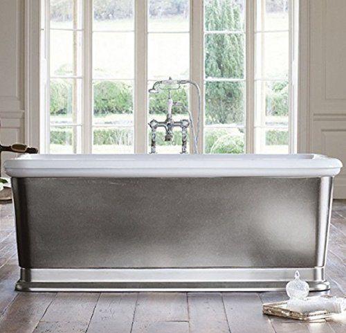 Casa Padrino Badewanne Freistehend Rechteckig 1800mm Blon Silber