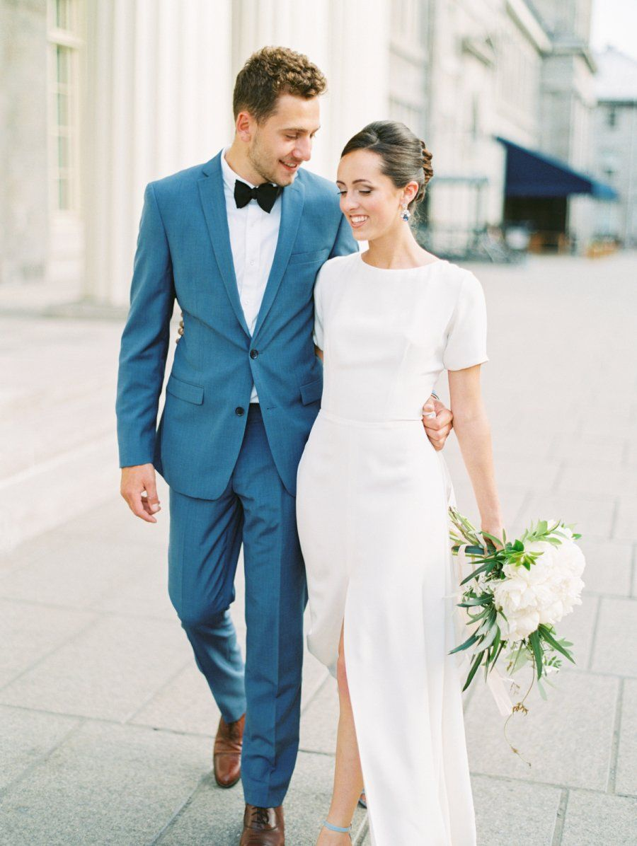 Modern Meets Classic With This French Inspired Elopement Plain Wedding Dress Civil Wedding Dresses Wedding Dresses