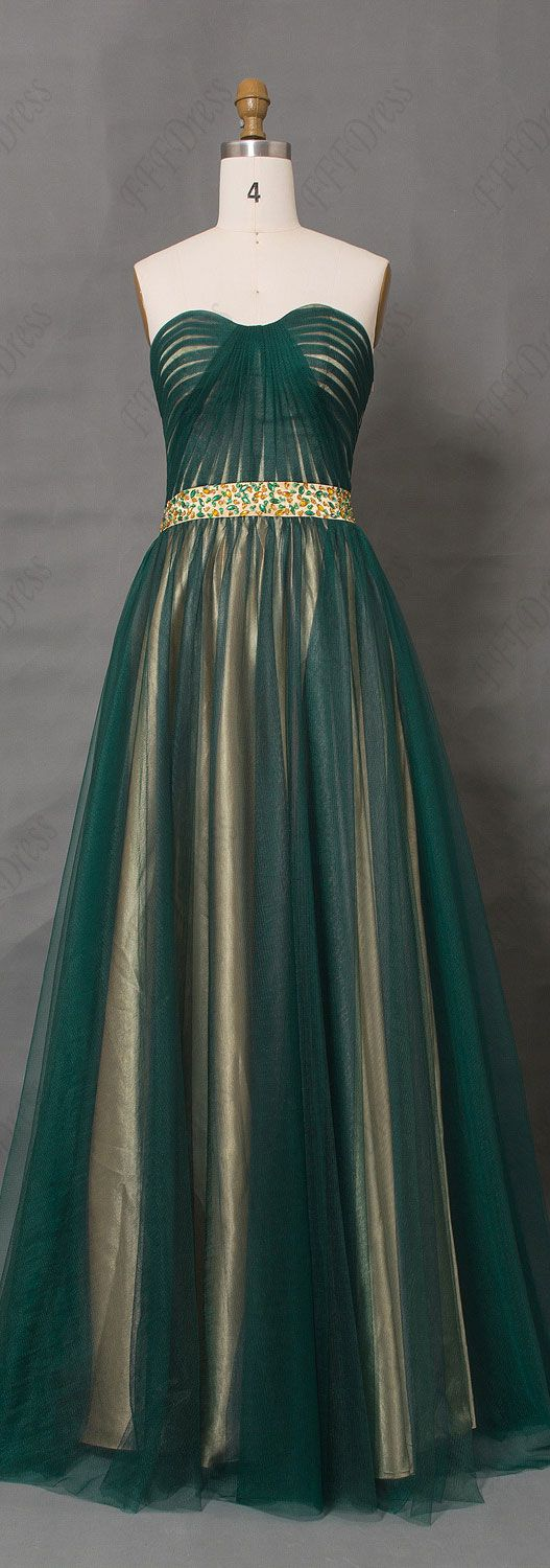 Two tone dark green evening dress beaded prom dresses dark green