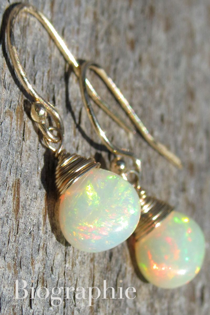 14k Gold Opal Earrings At Biographie Now