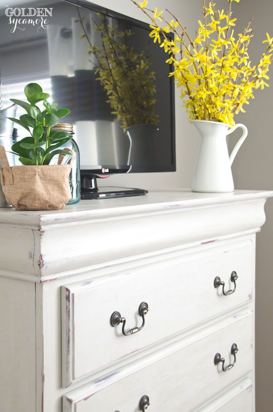 Perfect Chalk Painted Distressed Bedroom Dresser