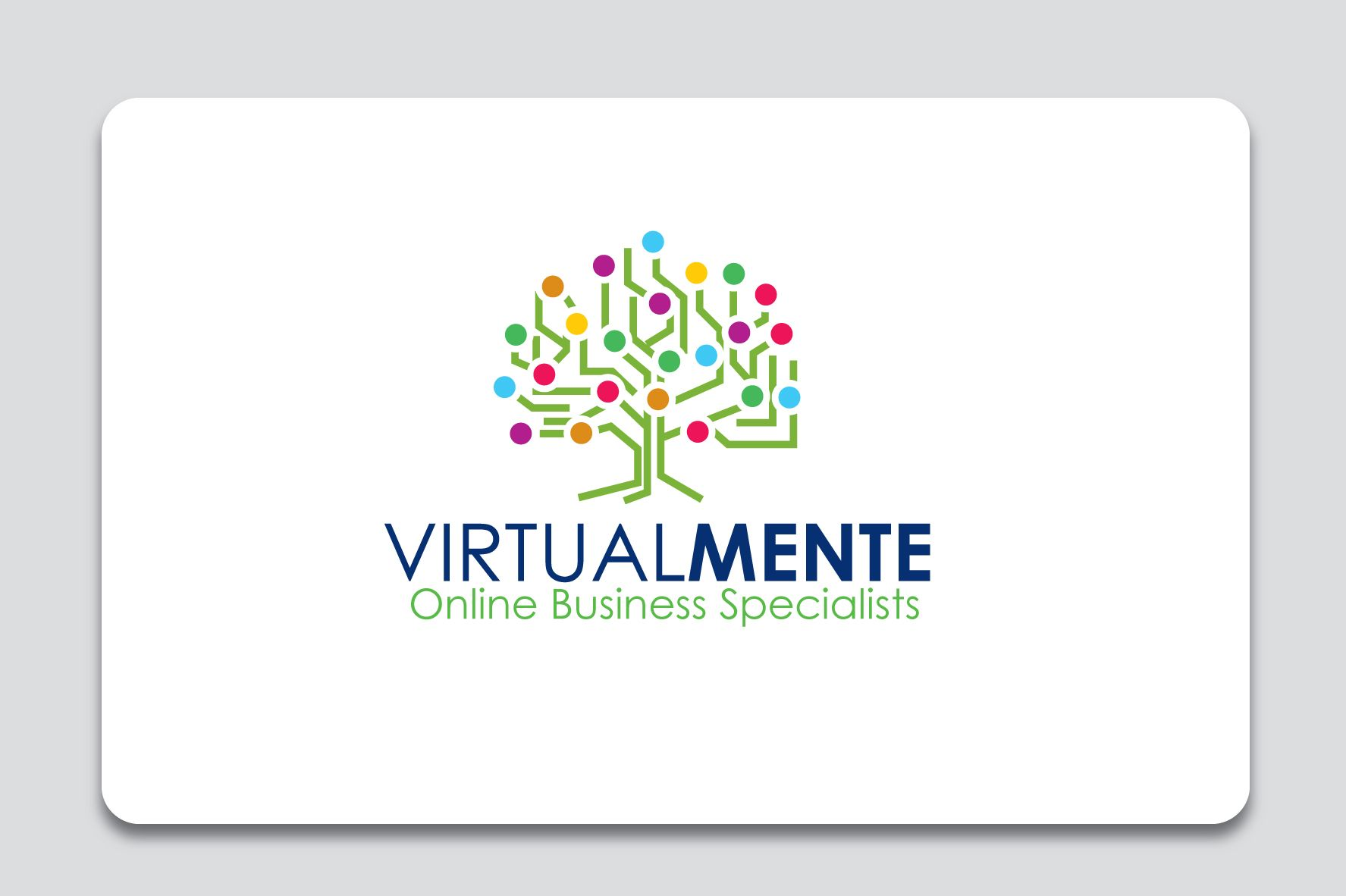 logo and branding design for www.virtualandco.net. I'm making a re branding, and the new company name is VirtualMente. This means in Italian and Spanish VirtualMind. Virtual Assistance only to Online Business Services