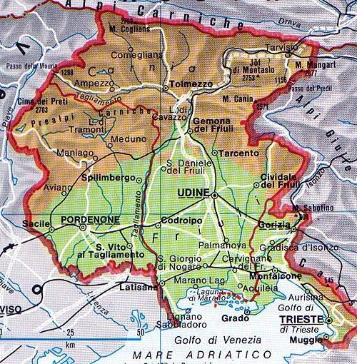 Cartina Topografica Venezia.Mappa Del Friuli Venezia Giulia Cartina Del Friuli Venezia