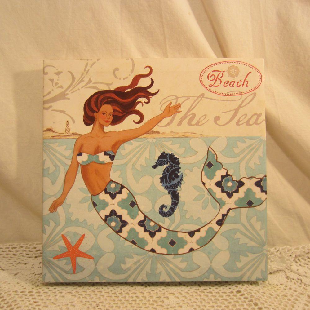 J Brinley Mermaid Canvas Wall Decor 12 x 12 J Beach The Sea 2010 ...