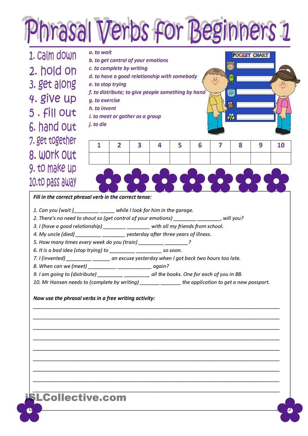 Worksheets Esl Worksheets For Beginners phrasal verbs for beginners 1 english learning kids worksheet free esl printable worksheets made by teachers