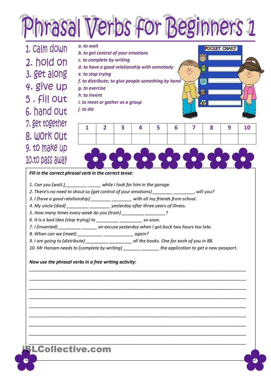 Phrasal Verbs For Beginners 1 Fichas Ingles Gramatica Inglesa