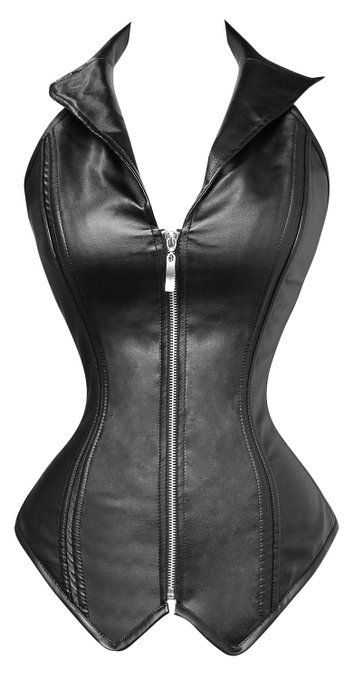 5cbc926d7 Amazon.com  Charmian® Women s Faux Leather Steampunk Corset Bustier Zip Top  Costume Rock Biker  Clothing