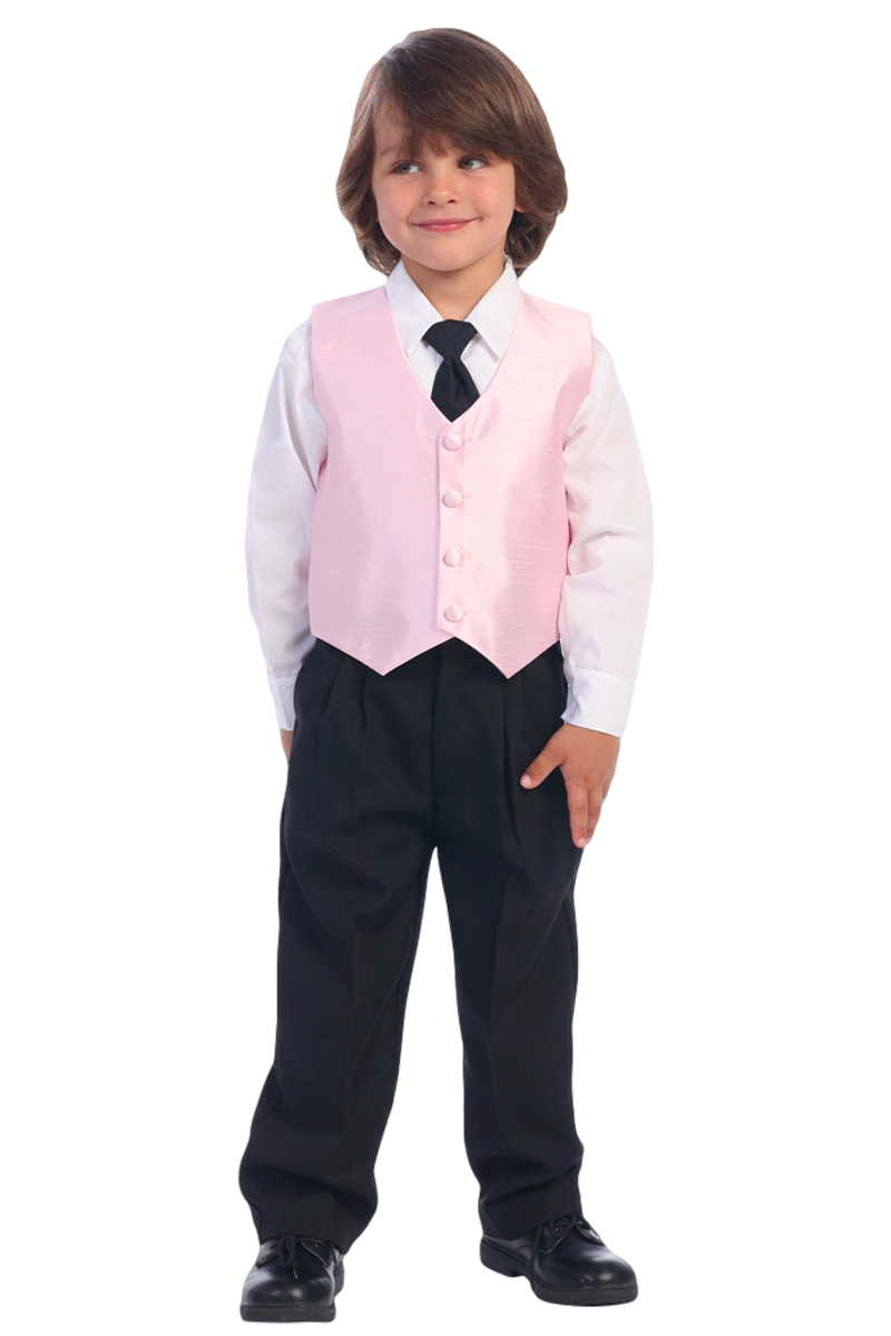 b70e8c0ee259 Pink Poly Silk Vest   Black Pants 4 Pc Outfit (Baby 6 months ...