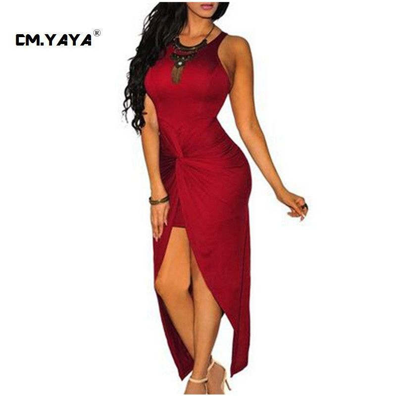 CMYAYA 2016 New Women Sexy Summer Red Sleeveless Off the Shoulder Asymmetrical Bodycon Maxi Dress at our web shop http://www.aliexpress.com/store/536244