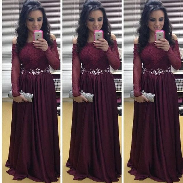 366385ef98d Plus Size Long Sleeve Prom Dresses 2016 Long Elegant Burgundy Prom Gowns  Off Shoulder Fast Delivery Robe Longue Femme Soiree
