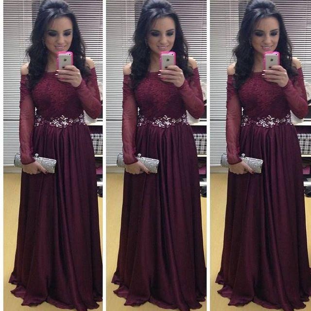 plus size long sleeve prom dresses 2016 long elegant burgundy prom