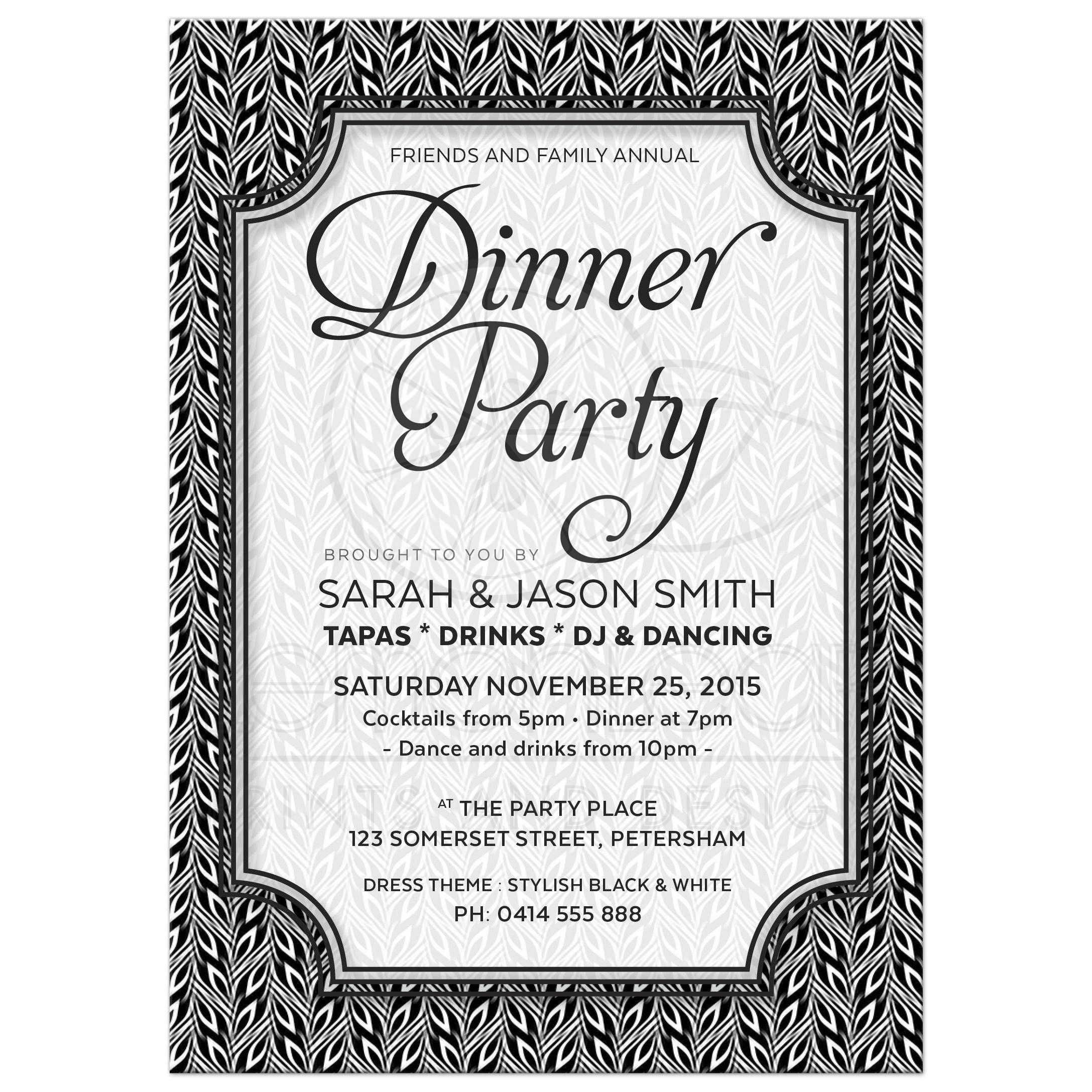 Anniversary Dinner Party Invitations  Invitations Card Template