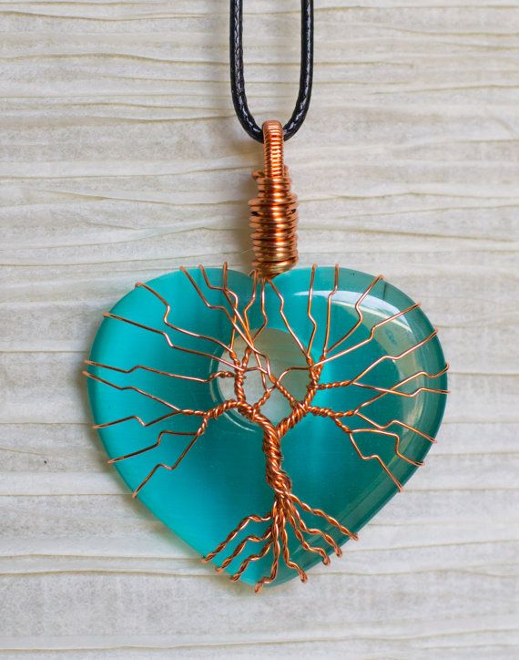 Copper Wire Wrap Tree of Life pendant Blue by RecycledBeautifully
