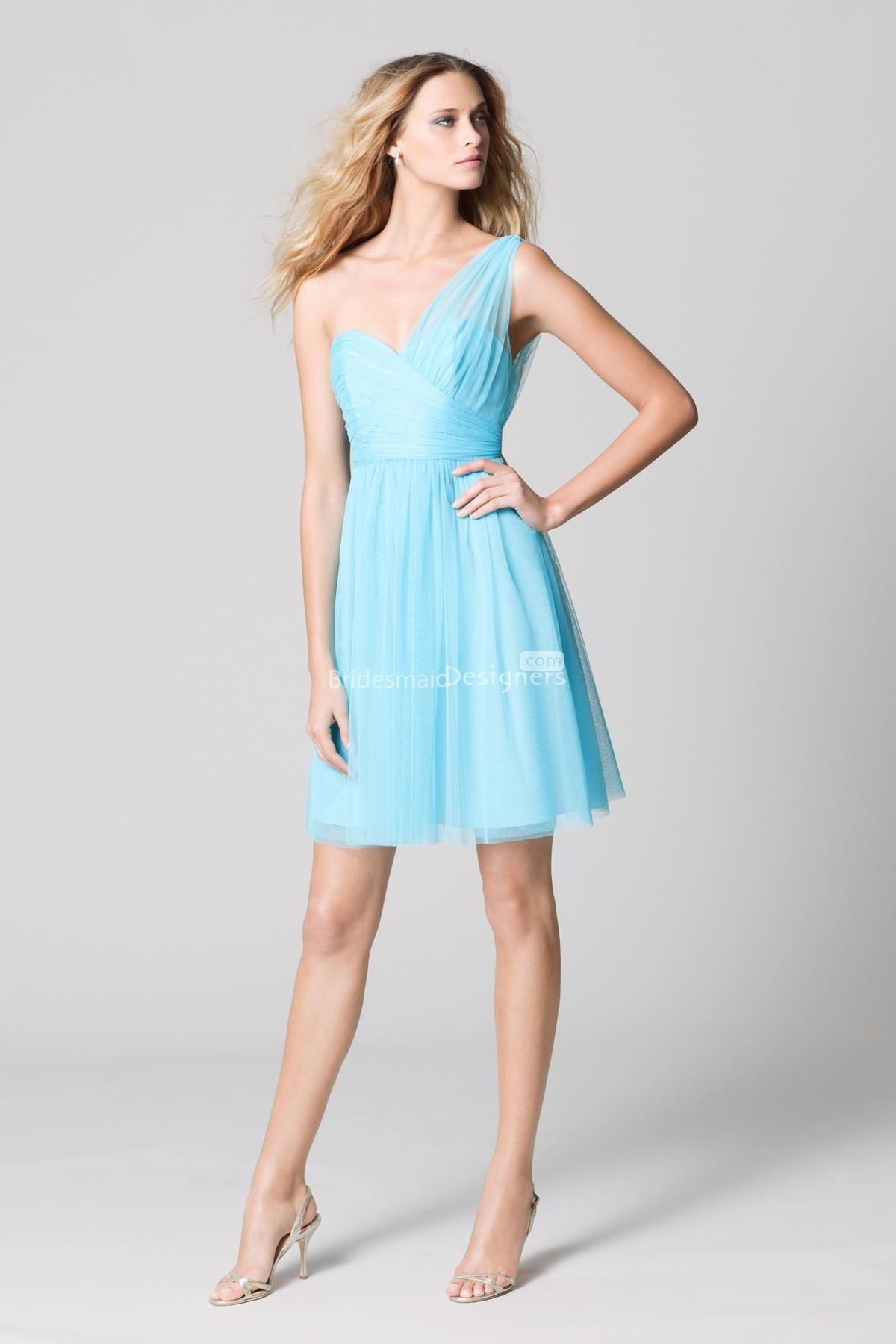 pale blue wedding dress fairy light blue one shoulder sweetheart neck short a line pleated bridesmaid dress US
