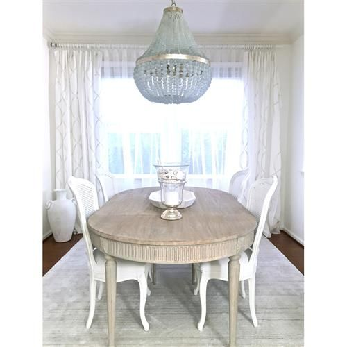 Floren French Country White Wash Oak Extendable Breakfast Oval - White washed oak dining table