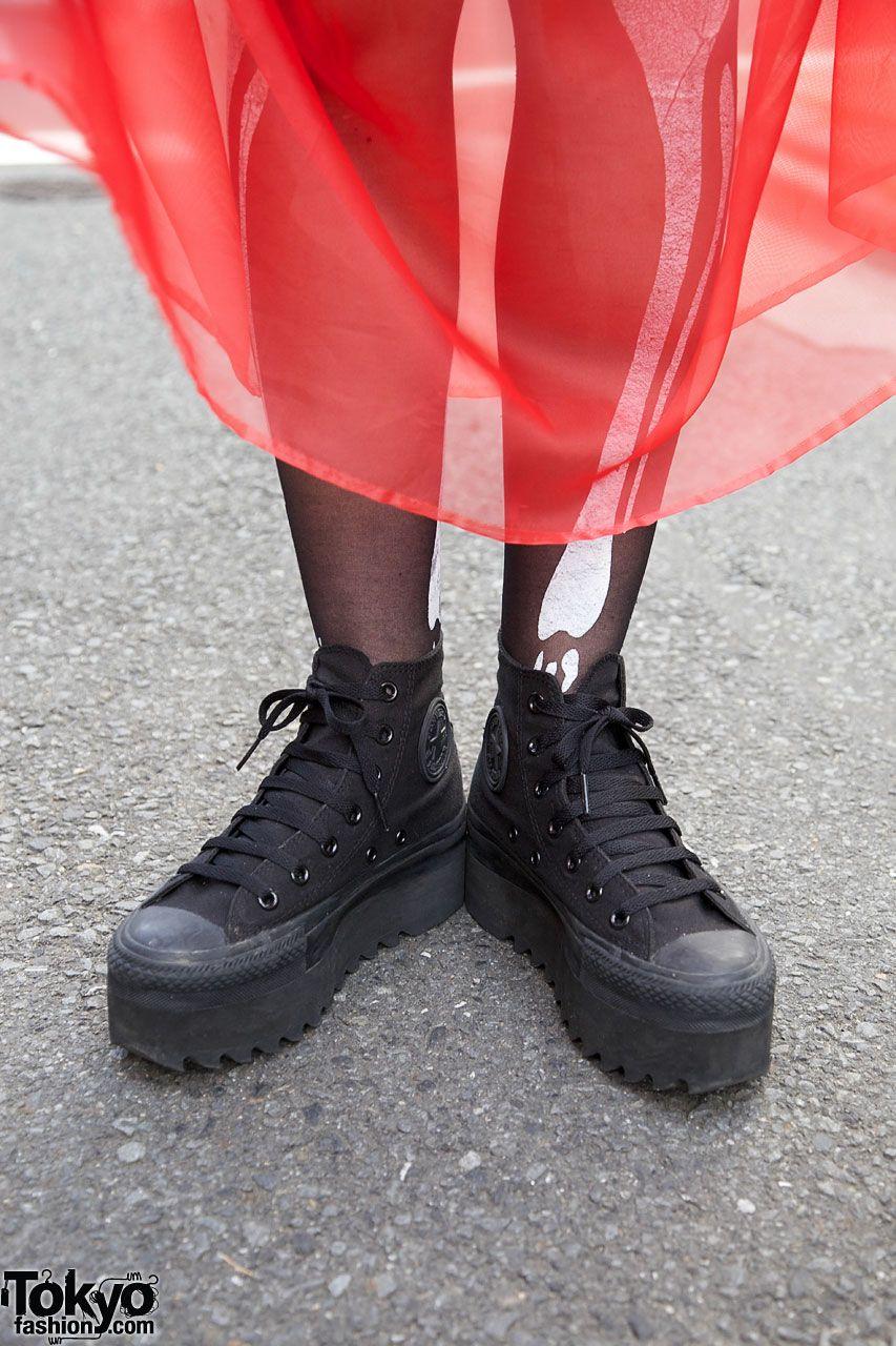 all black platform converse